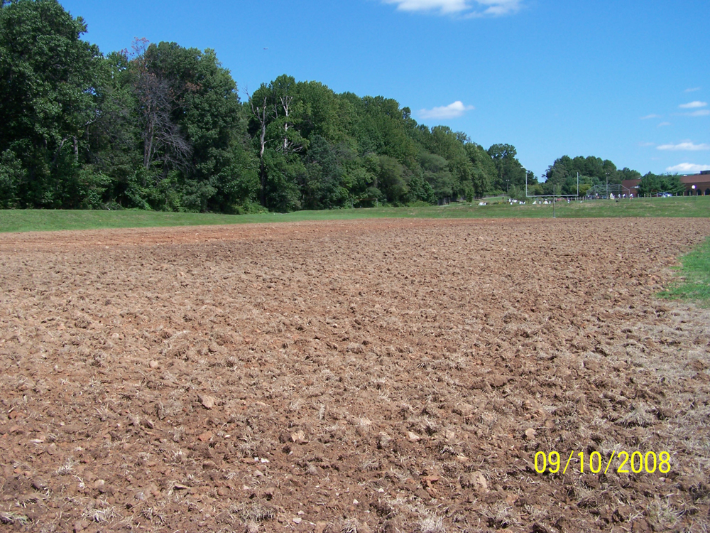 Before working on the athletic field.
