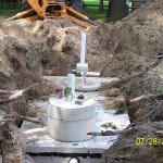 Septic tank replacement in process.