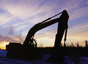 Excavator silhouette.