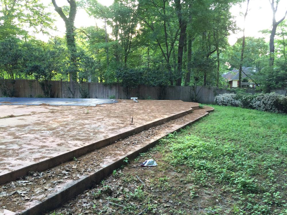 Pool before removal begins.